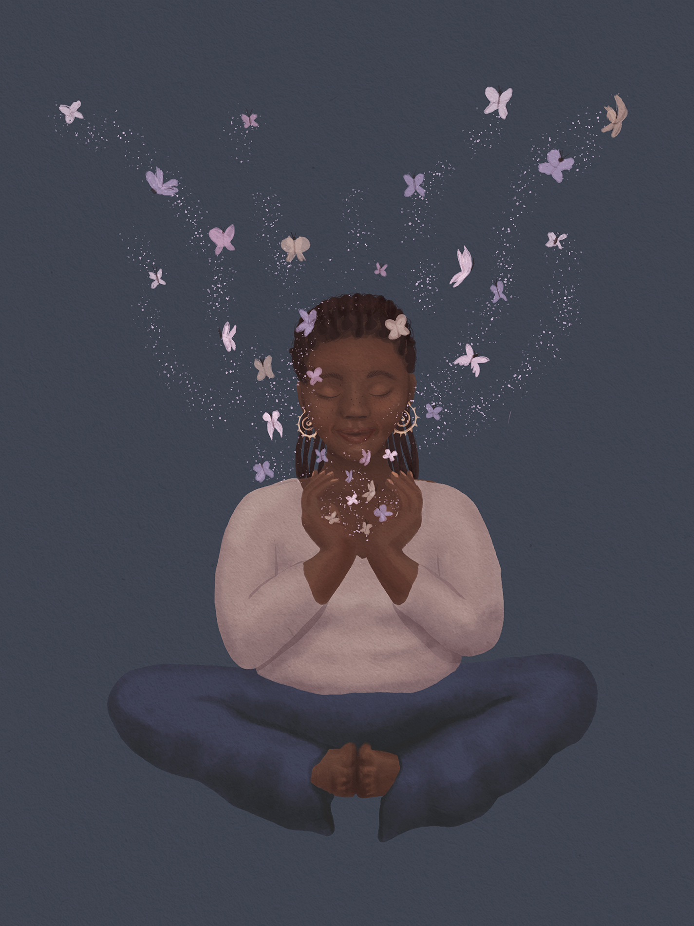 Illustration of a black woman in butterfly pose surrounded by butterflies