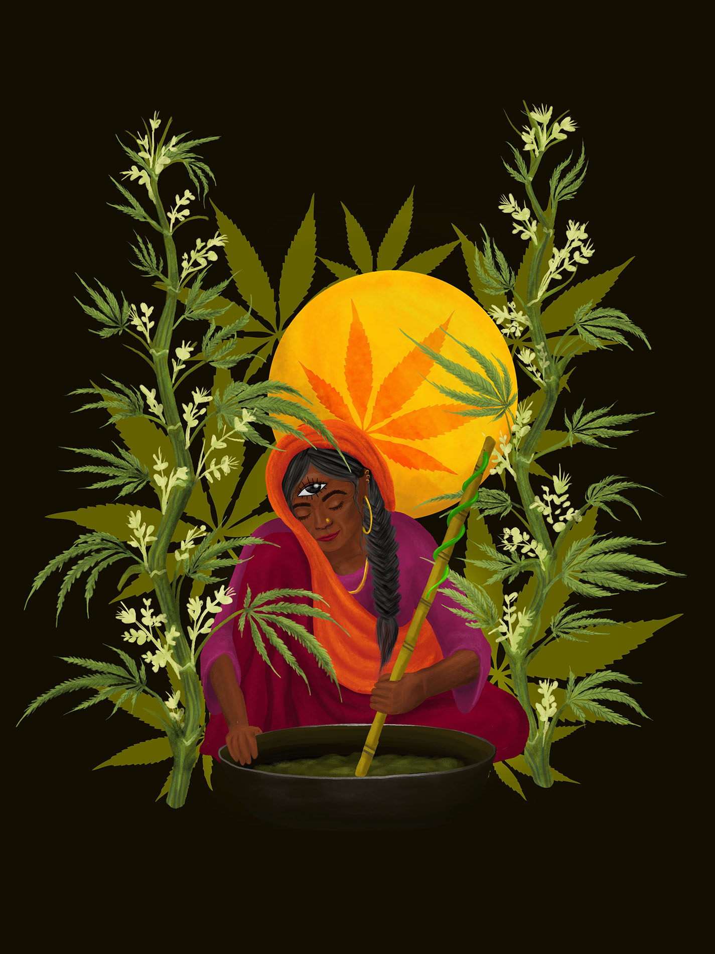 Illustration of an Indian woman preparing the cannabis drink Bhang