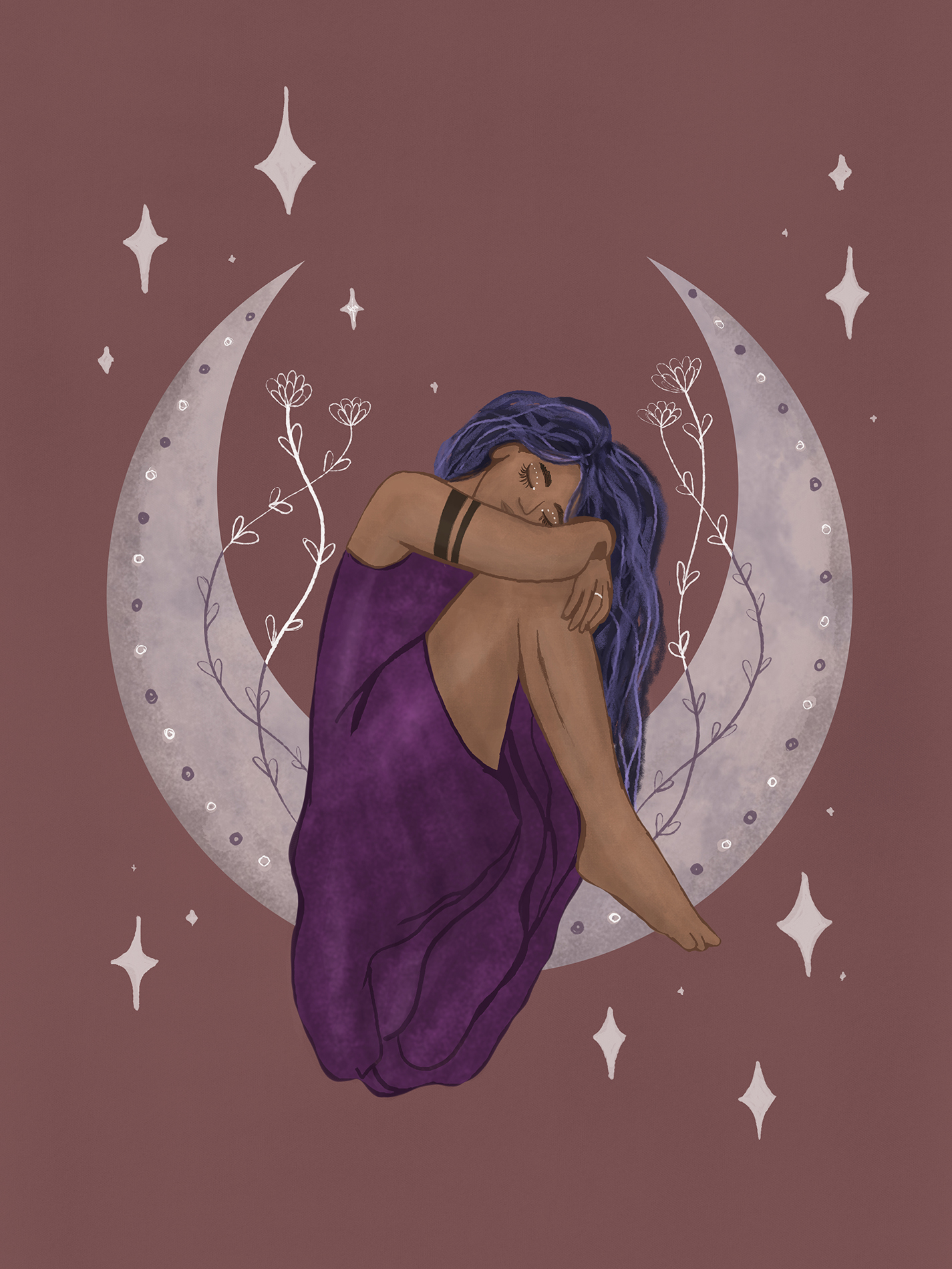 Spiritual illustration of a woman in a purple dress sitting in a moon.