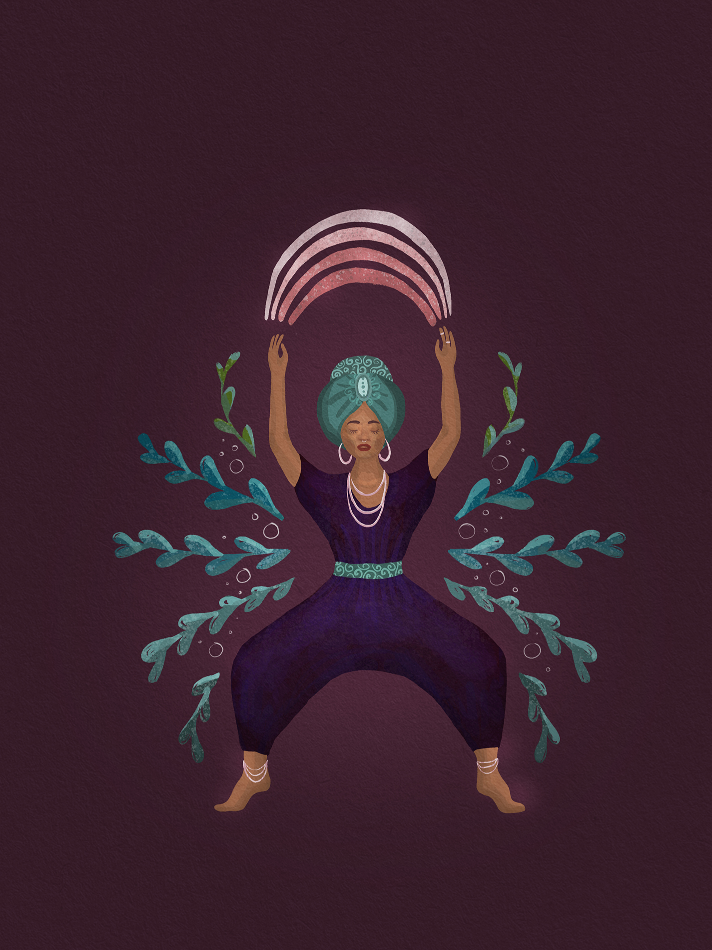 illustration of a woman in goddess yoga pose with a rainbow above her