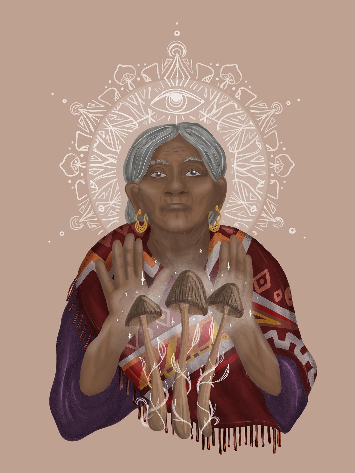 Illustration of the Mexican magic mushroom shaman Maria Sabina
