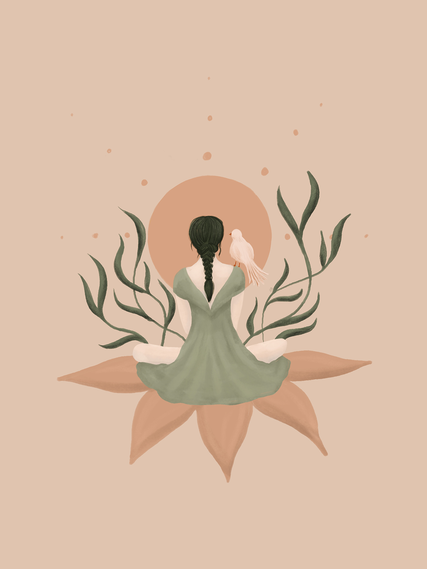 Peaceful illustration of a woman with a bird on her shoulder meditating
