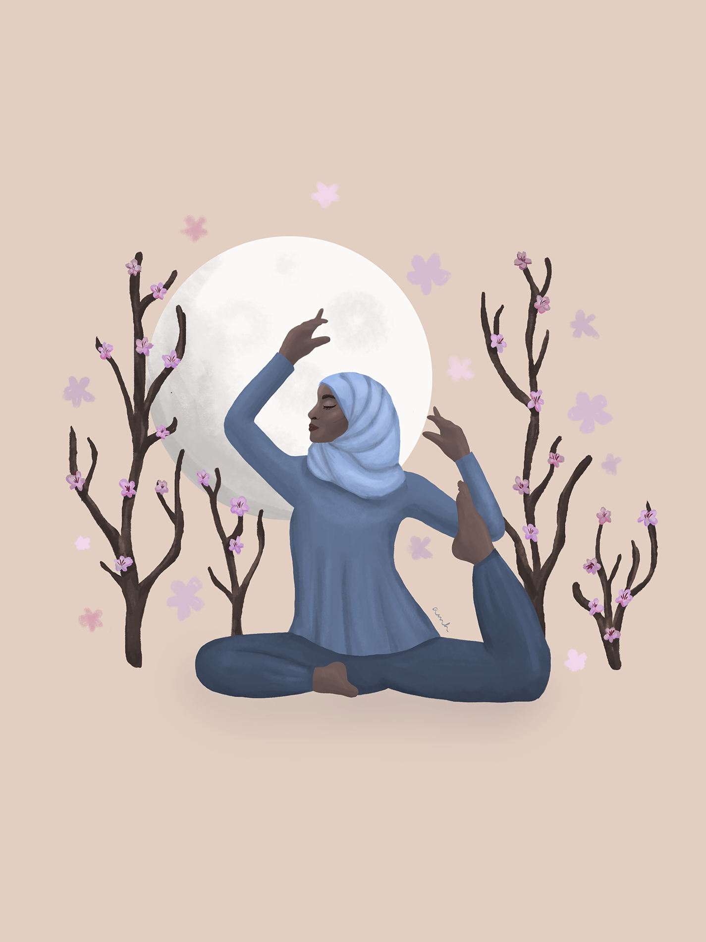 illustration of a hijabi woman in pigeon pose doing yoga