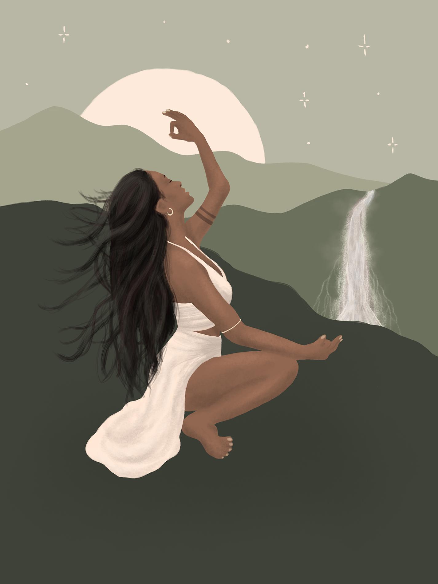 Illustration of a beautiful spiritual goddess by a waterfall