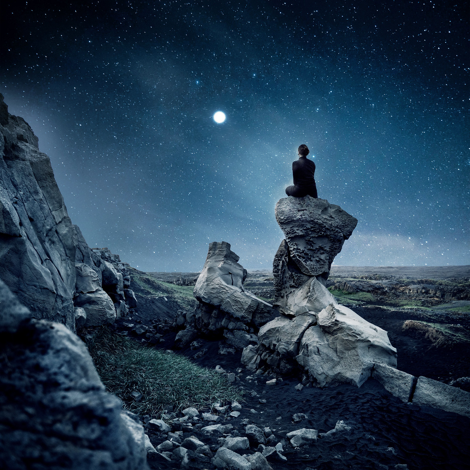 Self portrait photography under a night sky in Iceland.