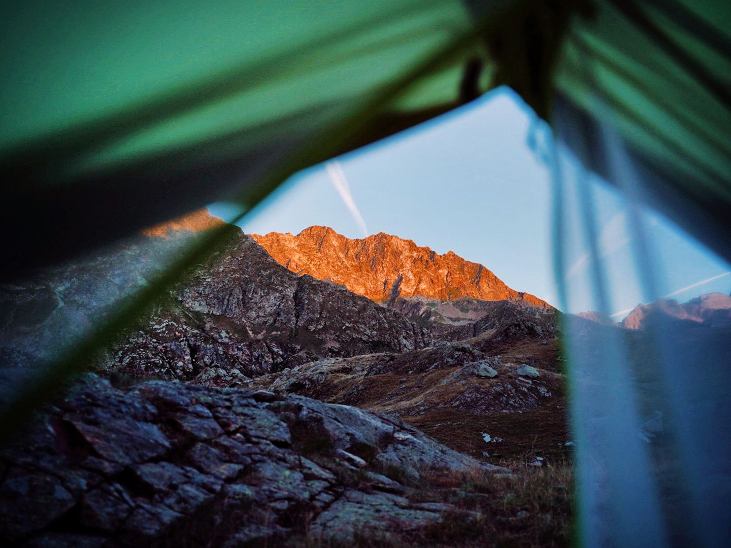 Seeing the mountains from the tent while wild camping.