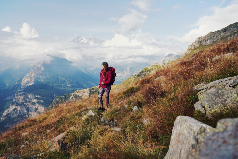 A hiker crossing the Italian alps.