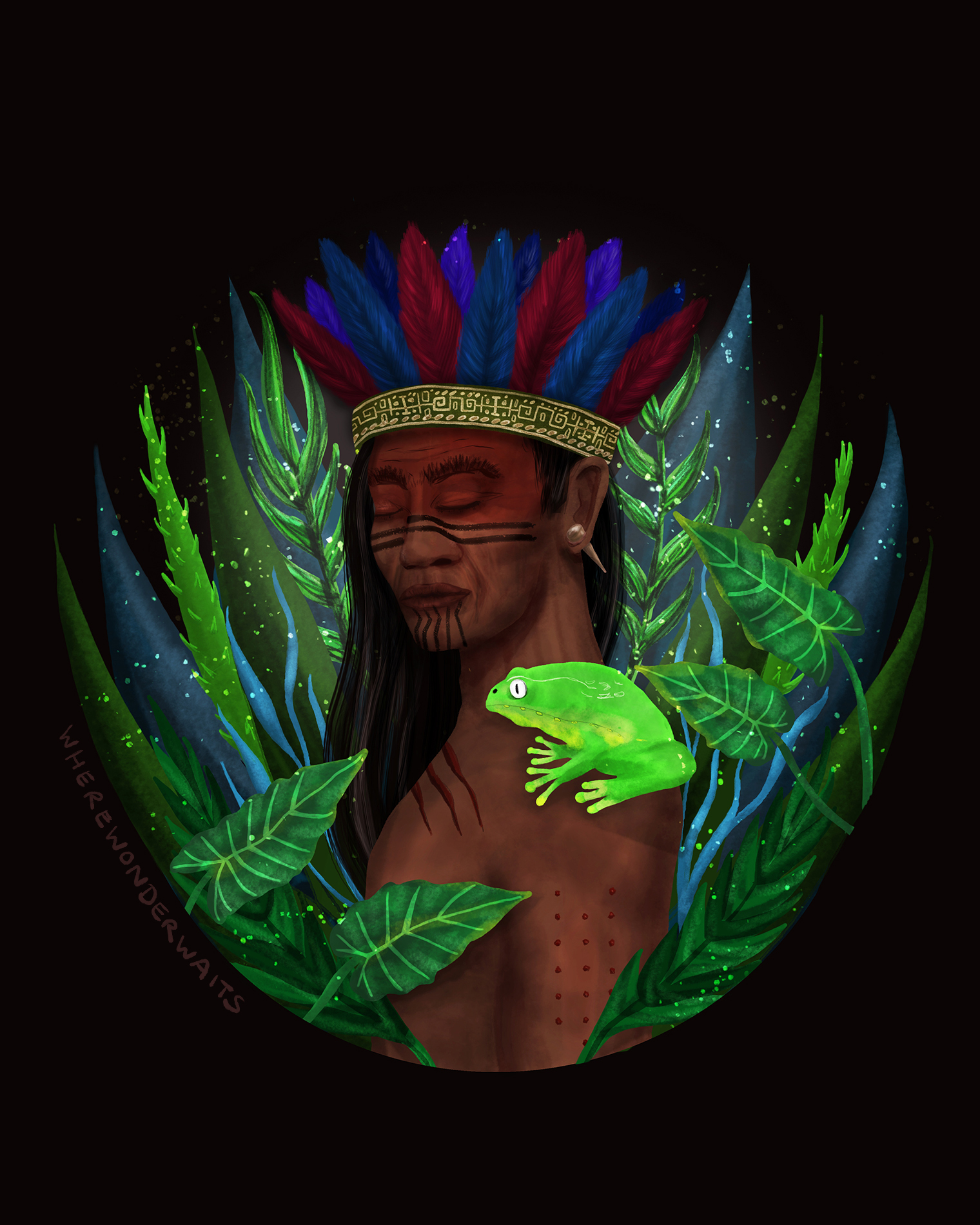 A digital painting that shows an indigenious warrior with a Kambo frog on his shoulder and burn marks on his arm.
