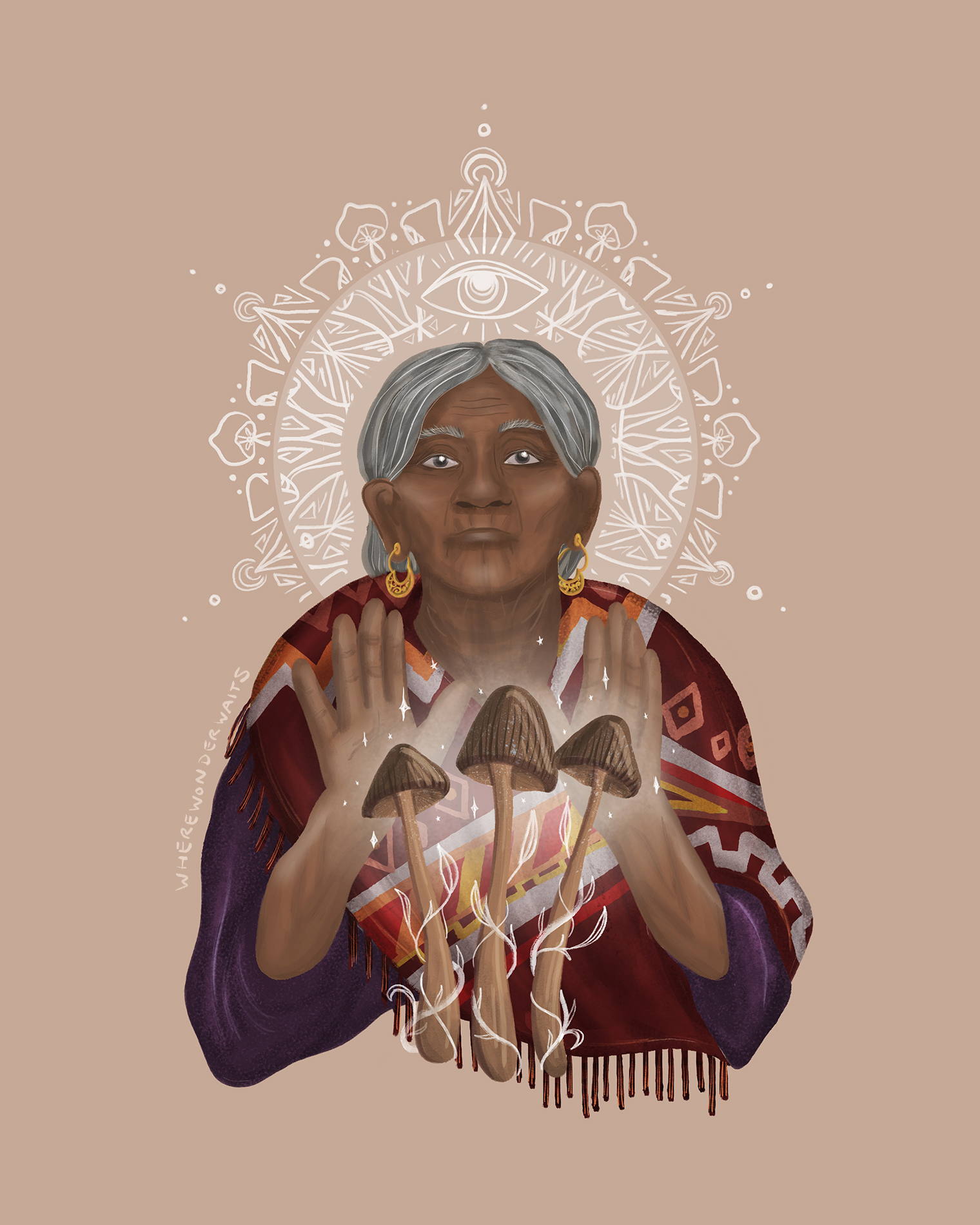 This illustration depicts the Mexican shaman Maria Sabina working with magic mushrooms.