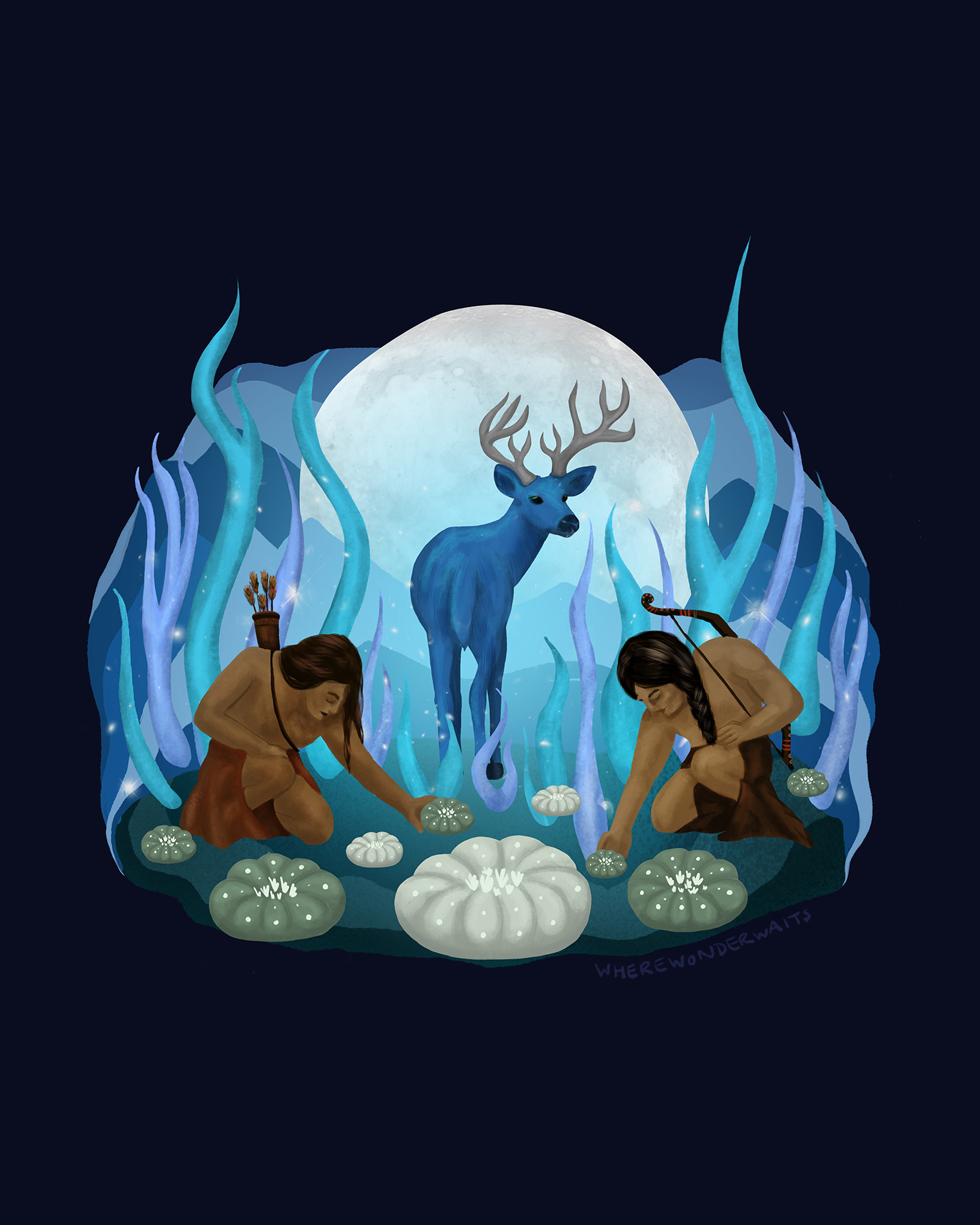 This artwork represents hunters collecting Peyote after being led there by the blue deer (venado azul).