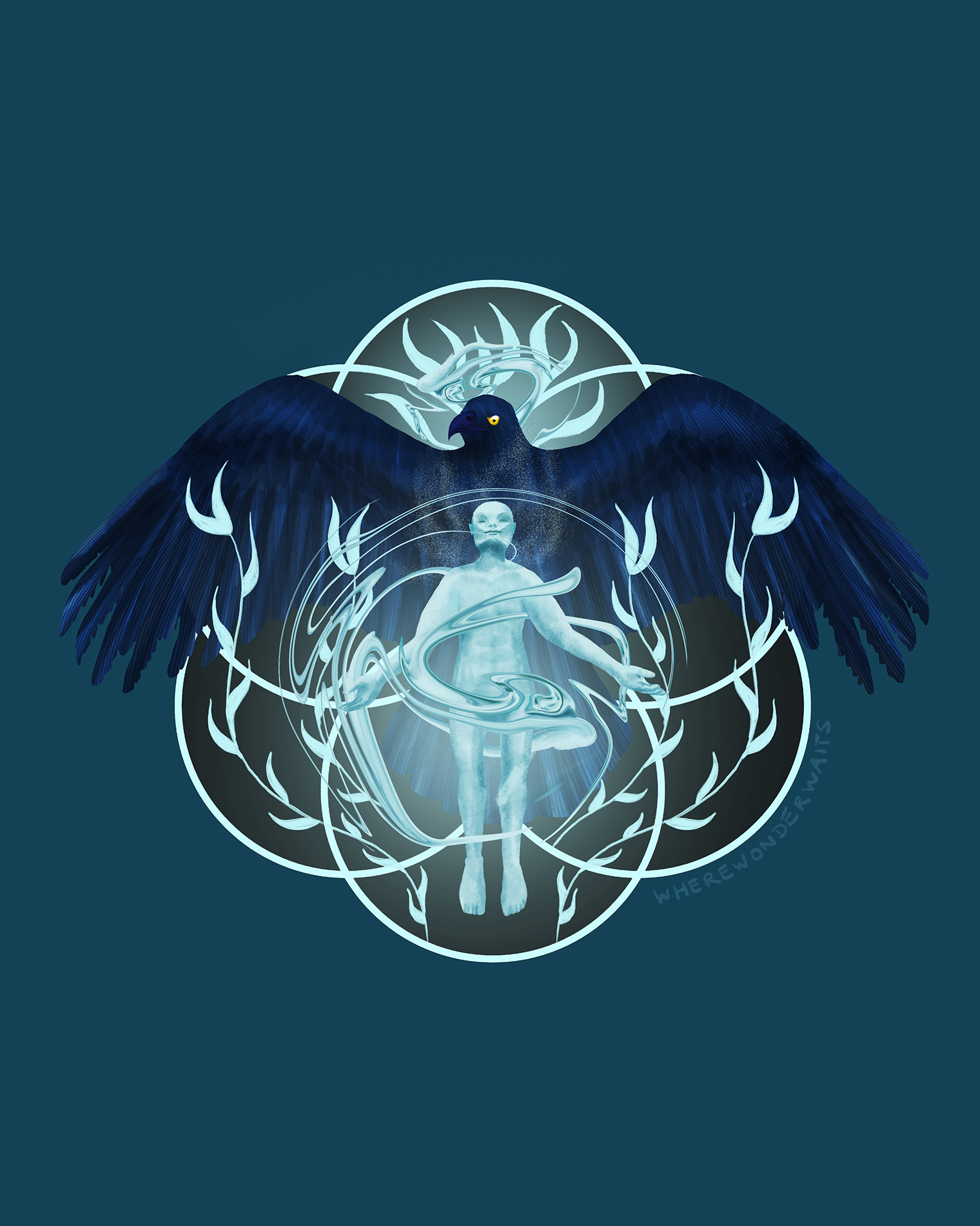 An illustration showing an eagle, symbol of the free mind, rising together with a human being. It symbolizes entering higher levels of consciousness.
