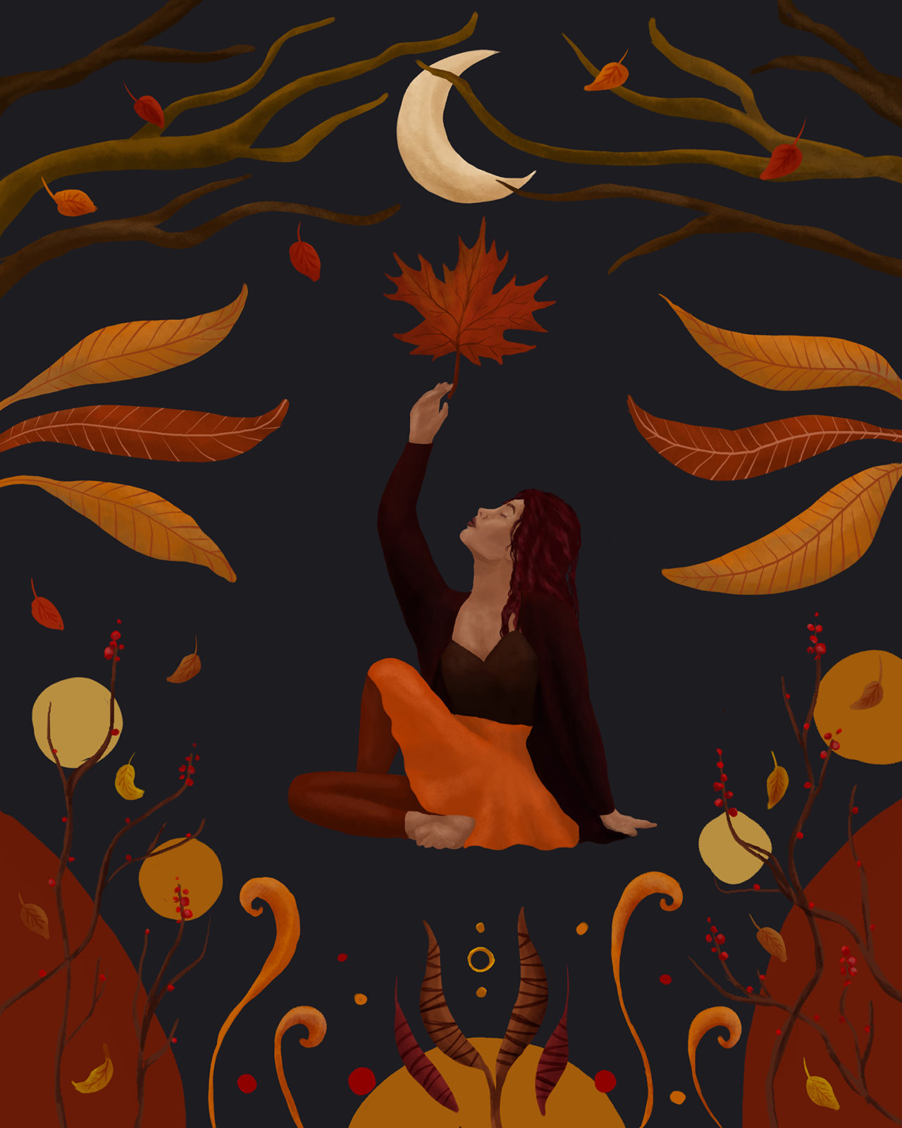 Yoga illustration to celebrate the seasons. Autumn shows warm colors, falling leaves and a woman in a yoga pose reaching for the moon.