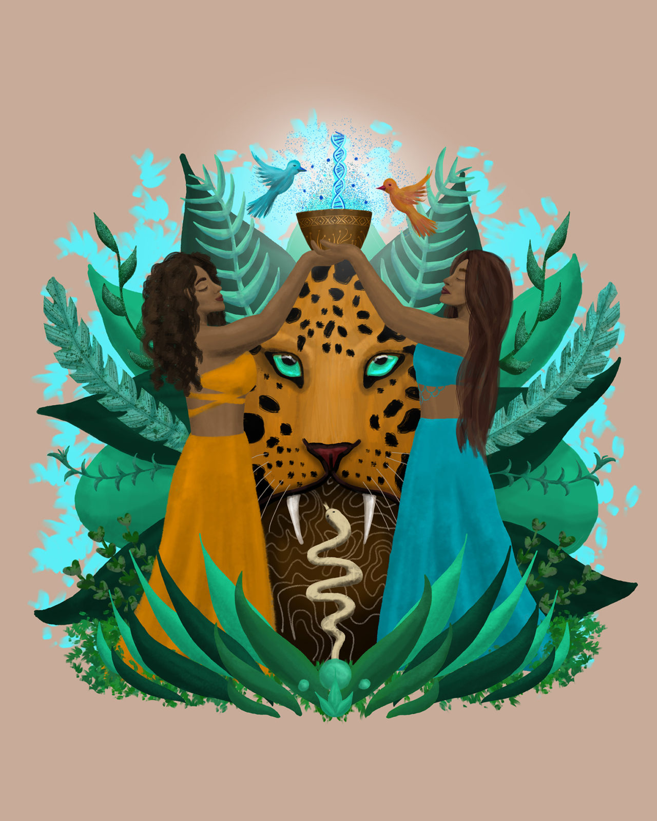 Psychedelic art showing two women holding up a bowl of Ayahuasca as jungle visions appear around them.