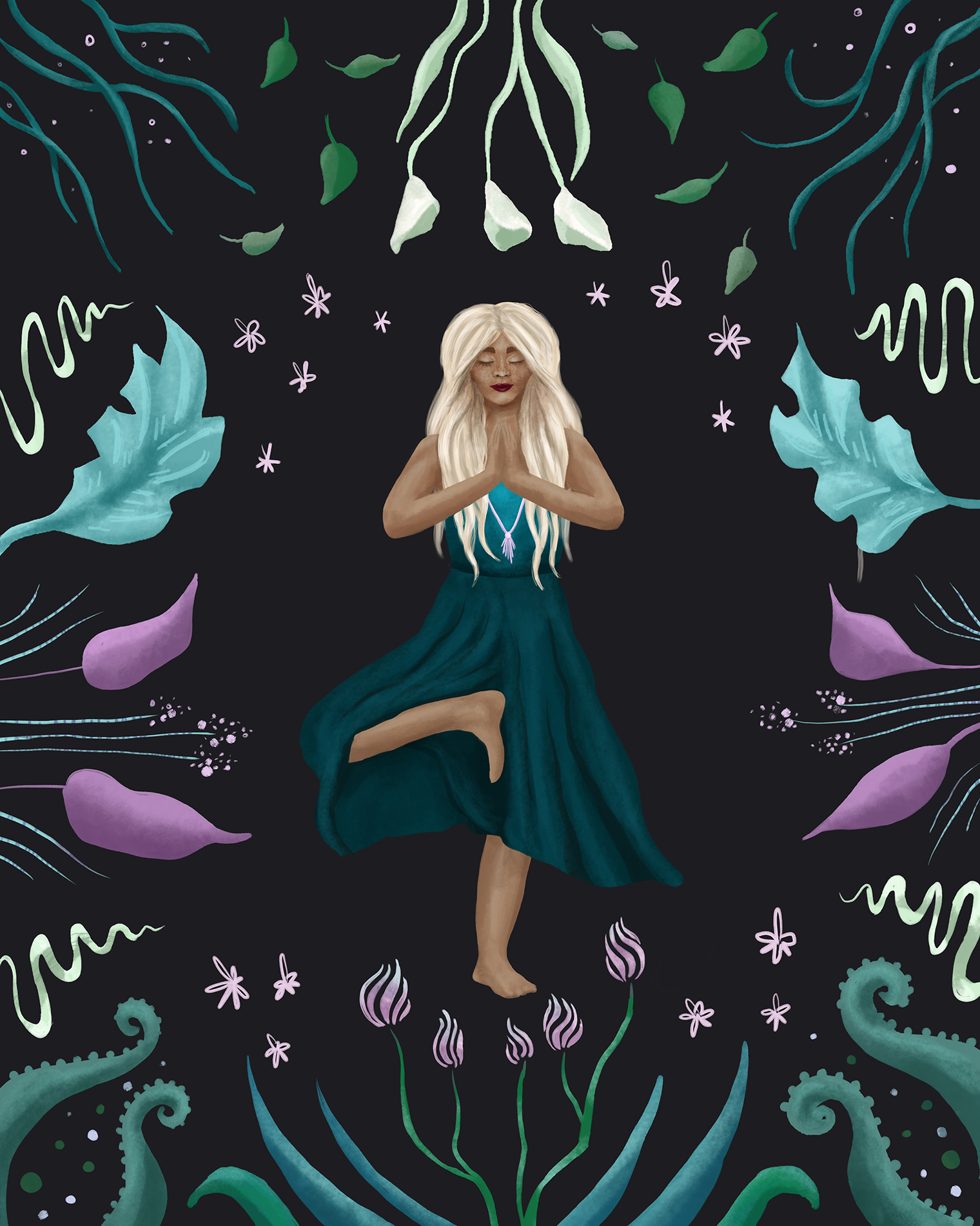 A spring yoga illustration with botanical plants to show the cyclical nature of life.